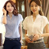 2014 summer new Korean version of the large size women bottoming shirt Slim nail drill lotus sleeve chiffon shirt-sleeved shirt