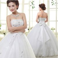 New Arrival 2014 Bride Diamond Decoration High Quality Tube Top Wedding Dresses Princess Straps Bow Romantic Fashion Bridal Gown