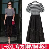 2014 summer women 6xl  plus size clothing lace short-sleeve dress full dress