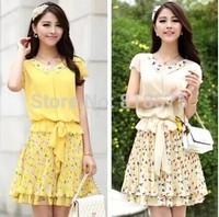 2014 summer new desigual sweet cute women flower print dress,faux two piece slim show thin casual dress,plus size M-XXXL vestido
