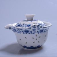 San Cai Wan Drinkware Blanc de chine Porcelain Tea Bowl Qinghua Ceramic Tea Cup with Stainer and Cover 180ML Free Tea Sample
