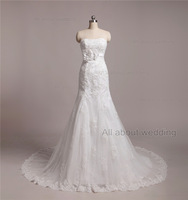 Free Shipping Custom Make Strapless Handmade Flower Dot Tulle Lace Appliqued High Quality Real Photo Wedding Dresses