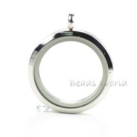 Free Shipping 1 Pcs Silver Plated Stainless Steel Round Origami Owl Glass Floating Living Memory Locket 30mm(W02770)