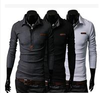 Fashion Good T Shirt Cotton Long Sleeve men T-shirt Slim Fit t shirt  Men clothing Epaulet Solid ,wholesale,free shipping