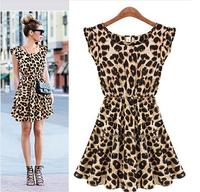 Free shipping! 2014 summer new eenschin casual dresses sleeveless leopard grain women winter fashion party dress size, M L XL