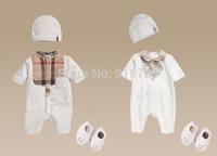 2015 New Brand fashion summer children clothing baby infant boys and girls romper set shoes hat 3 pcs/set