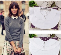 New 2014 fashion white shirt false collar for women peter pan detachable round collar solid cotton apparel accessories