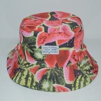 Wholesale adult summer outdoor popular adjustable fishing hat women and men fashion watermelon pattern bucket cap