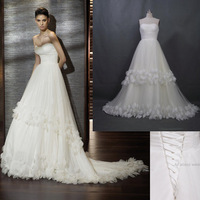 2014 Free Shipping Custom Make High Quality A line Romantic Tulle Petals Real Photo Wedding Dresses