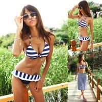 New 2014 Summer Fashion Cross Stripe Bikini Multiple Wear Sexy Bikini Dress Swimsuit 3-Piece Swimsuit Beach Dress