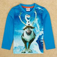 2014 Hot Sell Frozen Princess Girls Blue T-shirts Olaf Long Sleeve Children's New Fancy tshirts Free shipping DA330