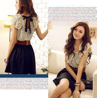 With Belt! Korean Women Summer New Fashion Chiffon Dress Short-sleeve Dots Polka Waist Mini Beige+Black Free Shipping