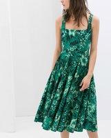 Wholesale Price Retro Printing Green Chiffon Ladies Summer Hanging Bandwidth Slew Pleated Women Dress Spaghetti strap Dress