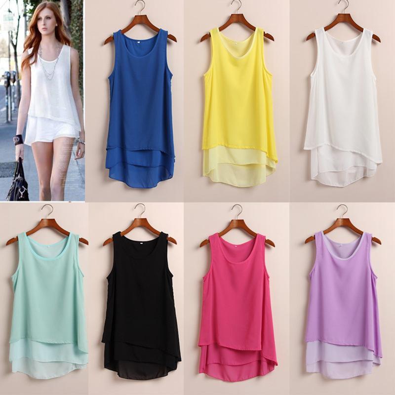 2014 novas mulheres costura de moda de boa qualidade camisolas de alças camisa chiffon camis verão cor de doces(China (Mainland))