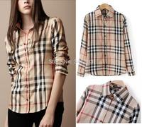 Hot sale Fashion Lattice Blouse Europe Stripe Plaid Printed Lady Vintage Design Long Sleeve Slim Women's cotton Shirt S~XXL/WTL