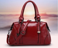 2014 New Style Oil Wax Leather Women Handbag All Match Ladies Motorcycle Bag Women Shoulder Bags Boston Women Messenger Bags