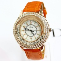 New Arrival Leather Watch Women Dress Quartz Fashion Luxury Brand Diamonds Big Dial heaving sand Free Shipping