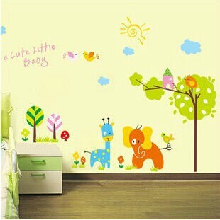 AY824 Removable wall stickers children's bedroom decor stickers nursery wallpaper cartoon of home accessories elephants park(China (Mainland))
