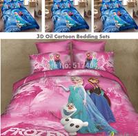 New 3D cartoon frozen bed set,Princess Elsa & Anna Olaf Frozen duvet/quilt cover Queen 4pcs Sister Love Linen frozen bedding