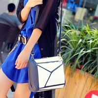 Limited edition fashion geometry patchwork color block women's handbag messenger bag