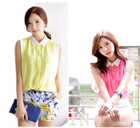 2014 new Promotions hot trendy cozy women blouse shirts  summer sleeveless casual chiffon shirt hit color solid