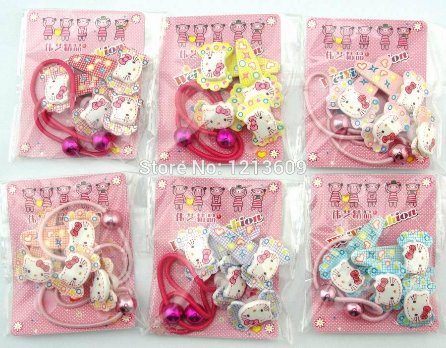 24 Packet 48 Pairs 96pcs Cartoon Hello Kitty Hairband,Hair Rope,Hair bands Hairpin,Baby Hair Clip,hair accessories Free Shipping(China (Mainland))