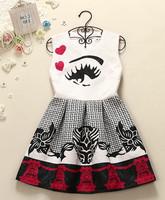TOP Quality Brand sleeveless casual cute eye print  dress women mini dresses new summer  2014 cozy tank dress white   WA
