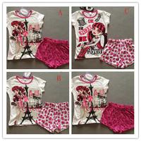 free shipping children girl  monster high short sleeve pjs pajamas pyjamas 100% cotton  3 designs