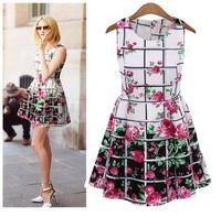 2014 summer dress o-neck women's  vintage  cotton short design  short sleeve dress Knee-length cute summer dress