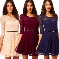 2014 new fashion women summer lace dress slim tunic milk silk print floral dresses casual plus size sexy dress vestidos m264
