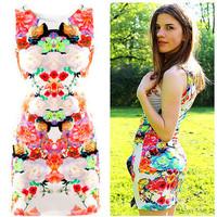 Printed Sexy Slim Casual Women Dress 2014 Summer New Fashion O-Neck Novelty Dresses sleeveless sheath dress tank