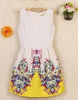 2014 new  hot trendy cozy fashion sleeveless casual dress cute tank flower print ball gown women dress 3 colors plus size WA