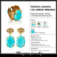 Brand fashion jewelry set blue Earrings bracelet bangles set  jewelry gold plated set for women girls