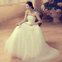 2014 New Arrival Bow Princess White Slim Tube Top Bandage Wedding Dress Maternity Romantic Fashion Bridal Gown Drop Shipping