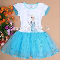 Retail Free Shipping 2014 hot sale frozen elsa cartoon dress,girl summer dress,western style fashion dress