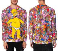 2014 Long Real Sale Sweatshirt Men Tracksuits Original Genuine Popular Homer Simpson Duff Bear Doughnut Long-sleeved Sweater