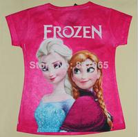2014 Promotion Corduroy Regular Character O-neck Fashion Frozen T Shirt for Girls Sleeves T-shirt Princess Elsa 5pcs/lot Top