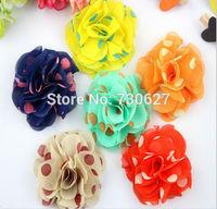wholesale fabric slik flowers for headband chiffon flowers dot DIY flowers baby girls hair accessories DIY flowers 100pcs/lot