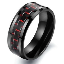 Free Shipping 6mm/8mm Men Red &Black Color Tungsten Carbide Engagement&Wedding Band  Carbon Fiber Inlay Ring Comfort Fit Ring