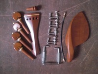 3 Sets Jujube wood Violin fitting 4/4 with string adjuster & tail guts& chin rest clamp