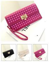 2014 New Collection Rivets Wrist Day Clutches Vintage Big Brand Designer Purse Women PU Leather Handbags Ladies Shoulder Bags