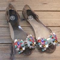 35 sweet rhinestone bow flat heel open toe transparent plastic shoes jelly shoes melissa crystal plastic sandals