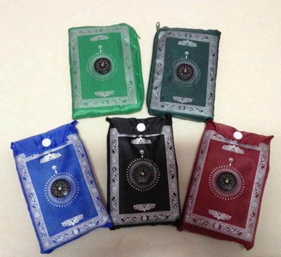 Free Shipping Pocket Prayer Rug Mat Islamic Qibla Finder Compass Sajjada Janimaz Musallah Eid(China (Mainland))