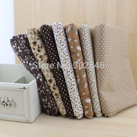 FREE SHIPPING 7pieces/LOT  50cm*50cm small brown  color cotton fabric fat quarter bundle patchwork cotton quilting fabric tilda.