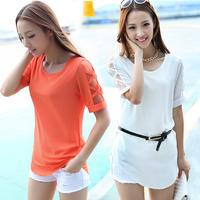 2014 new fashion  woman's  summer  clothing  Elegant  fresh cutout loose half sleeve chiffon shirt plus size