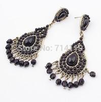 New 2014 Fashion Luxury Vintage Retro Shiny Black Drop Tassels Large Earrings For Women