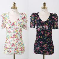 Fashion style brand Chiffon Retro Flowers Shirt Women Spring Summer Lady Blouse Drop shipping Blusas femininas 9172