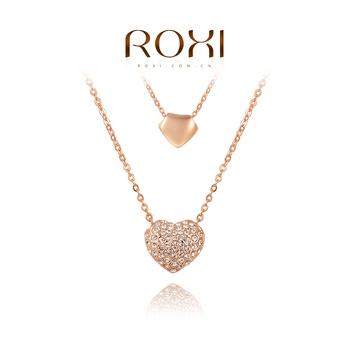 Roxi элегантная женская цепочка ручной работы, изготовлена из розового золота с трех разовым зототым напылением, украшена двойной подвеской в виде сердец с россыпью австрийских кристаллов,100% качество