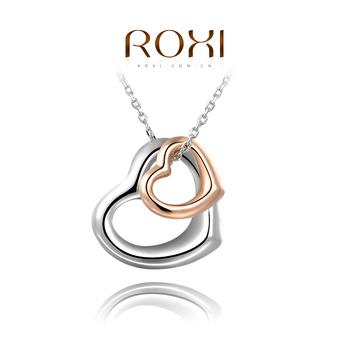Roxi женское ожерелье-цепочка ручной работы,изготовлена из белого золота с трех разовым зототым напылением,украшено двойной подвеской в виде сердец, 100% качество