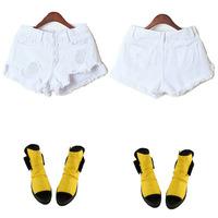 new summer 2014 for Women vintage High waist shorts jeans feminino Ripped Hole short jeans denim female distress cutoffs shorts